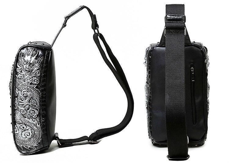 Fashion Handbag Punk Skull Gothic Waist Bag Retro PU Leather 3D River Personalized Phone Purse Men & Women Messenger Shoulder