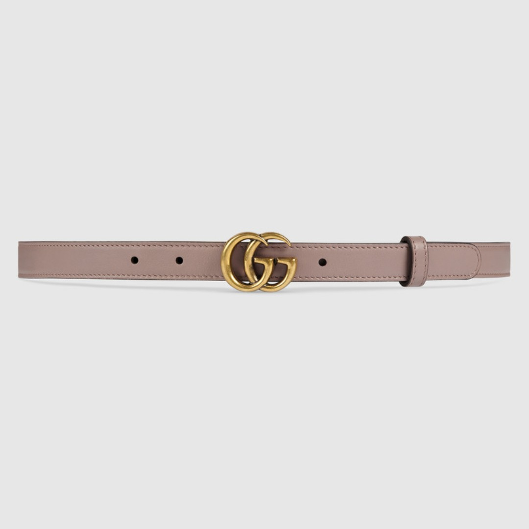 bb38613377190 GUCCI Leather belt with Double G buckle, Women's Fashion ...