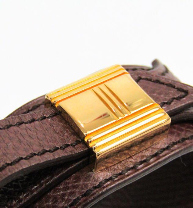 Hermes 中古 金扣啡色皮手帶 絕版