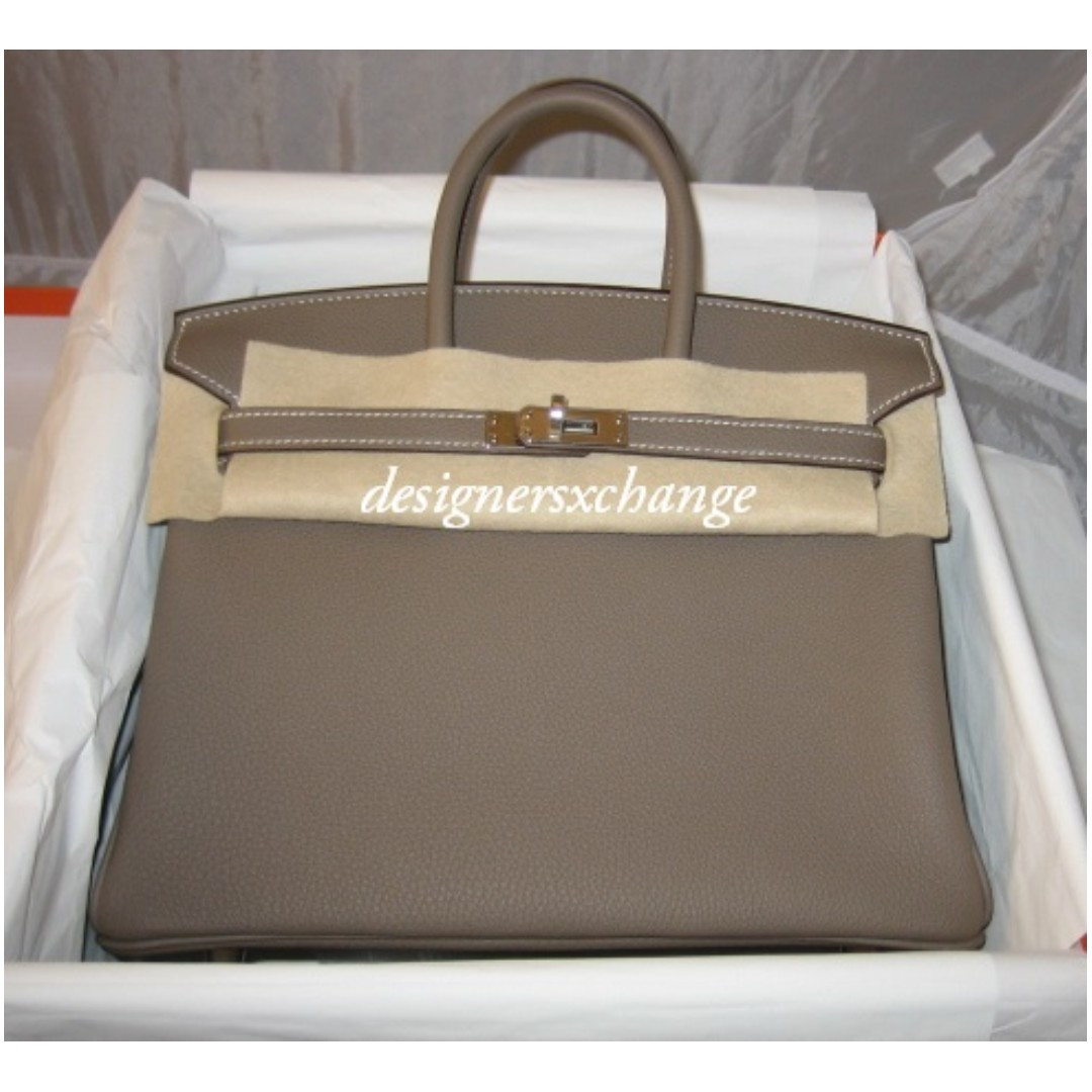 3cdcef944a09 Hermes Brand New Birkin 25 Etoupe Togo Leather Palladium with Hermes ...