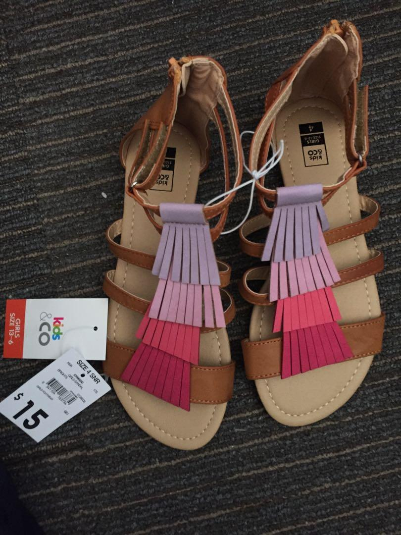 Kids and co 4 snr new ($15) pink and purple tassel sandals