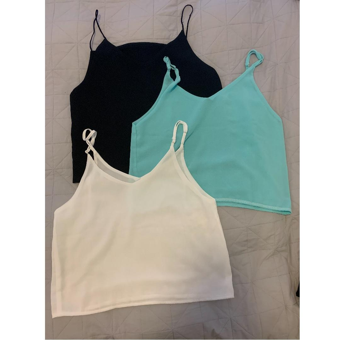 Loose Fit Singlet Top - Black, Blue & White in a set