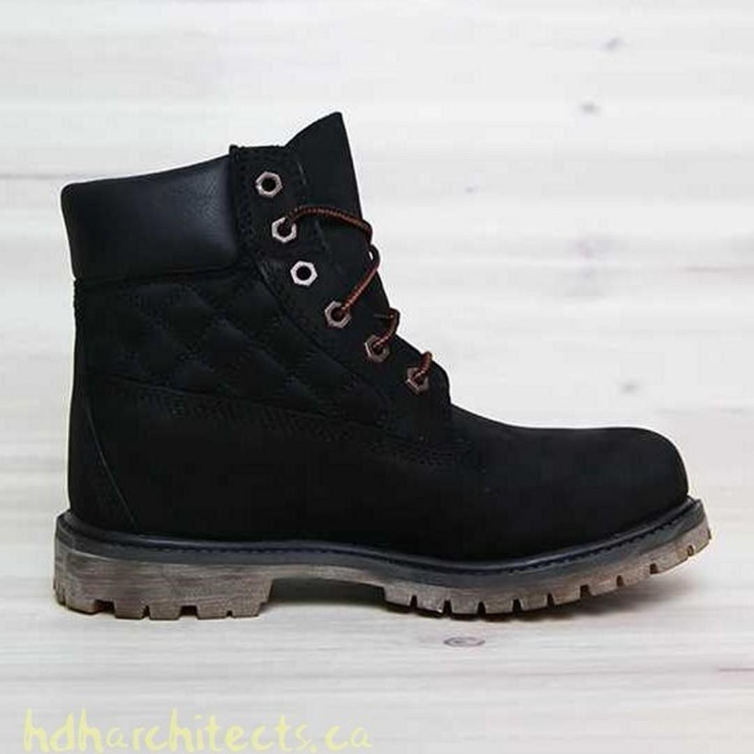 NEW ~ TIMBERLAND Authentic 6 Inch Premium Black Quilted Leather Nubuck Lace Up Boots SZ 38 7 RRP $299