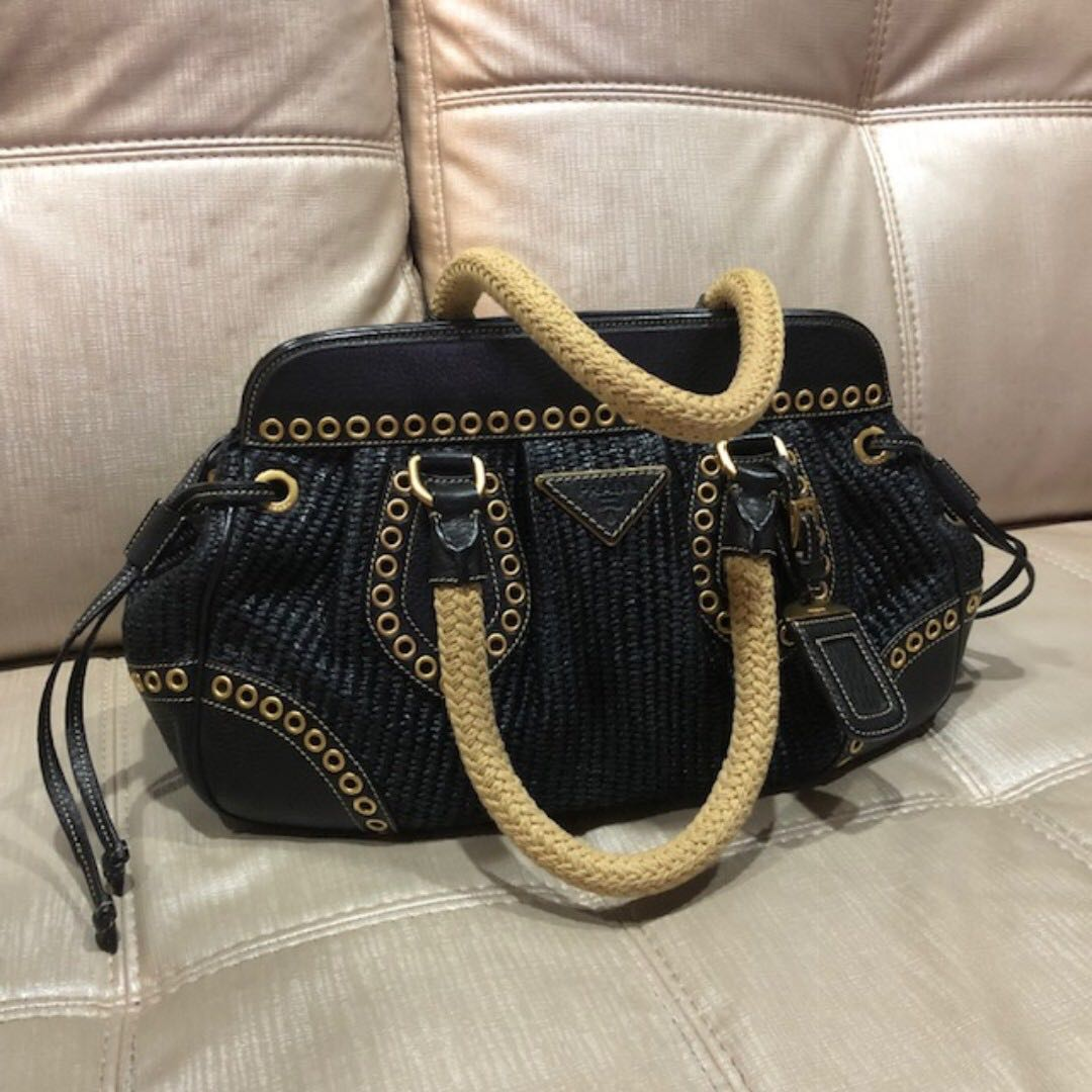 20d3b4bf483229 Prada Weave Bag, Luxury, Bags & Wallets, Handbags on Carousell