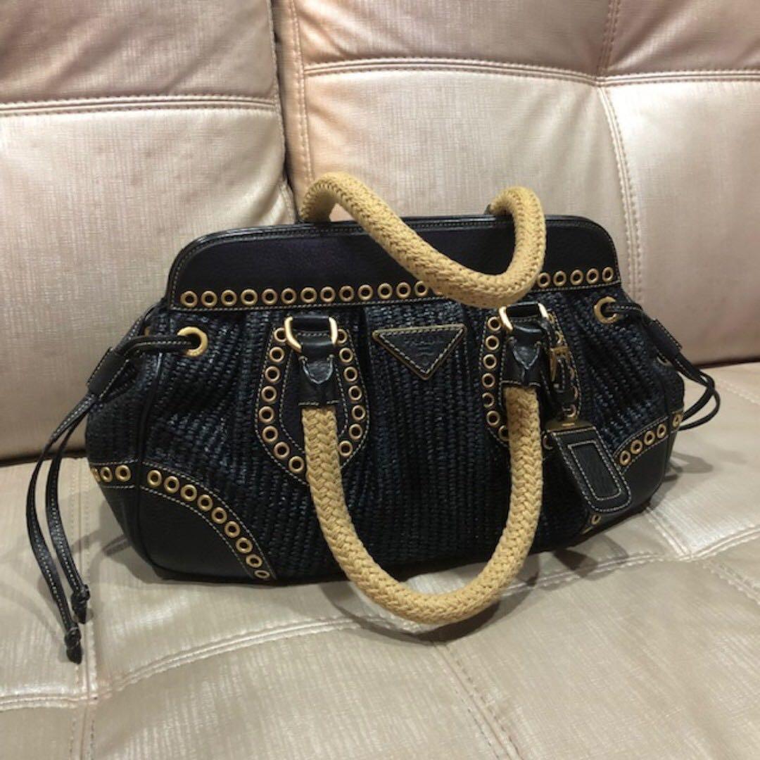 0dd1f508de75 Prada Weave Bag, Luxury, Bags & Wallets, Handbags on Carousell