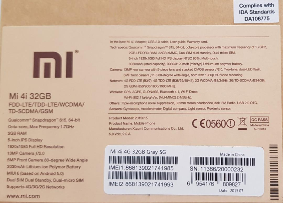 Preloved Xiaomi Mi4i with box 32GB, Mobile Phones & Tablets
