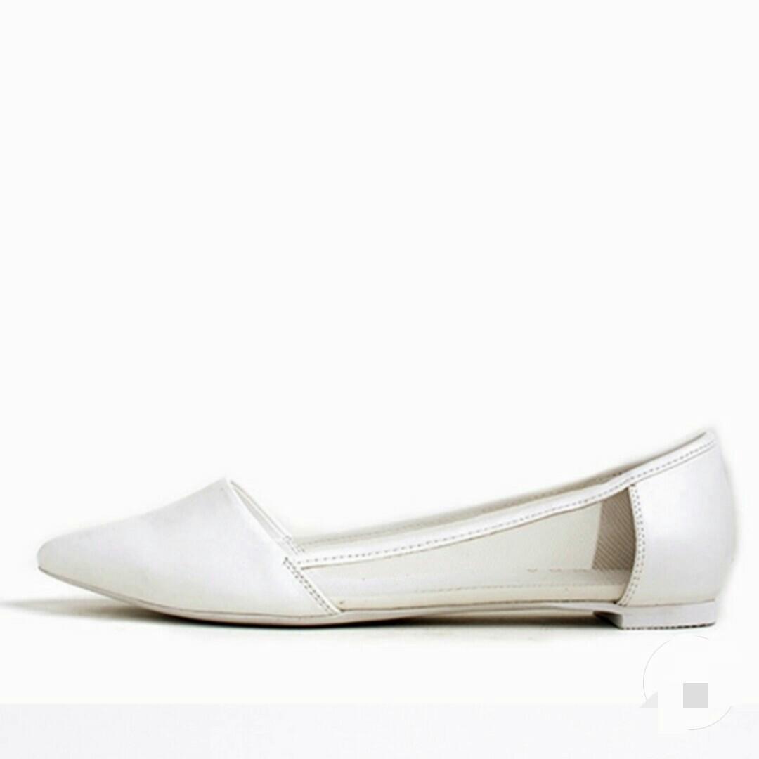 RANDA White Mesh Flats, Women's Fashion