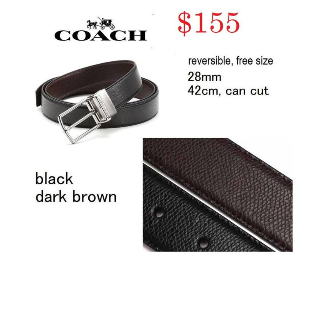 READY STOCK- AUTHENTIC-NEW  COACH MODERN HARNESS CUT-TO-SIZE REVERSIBLE SIGNATURE LEATHER BELT (COACH F59116)