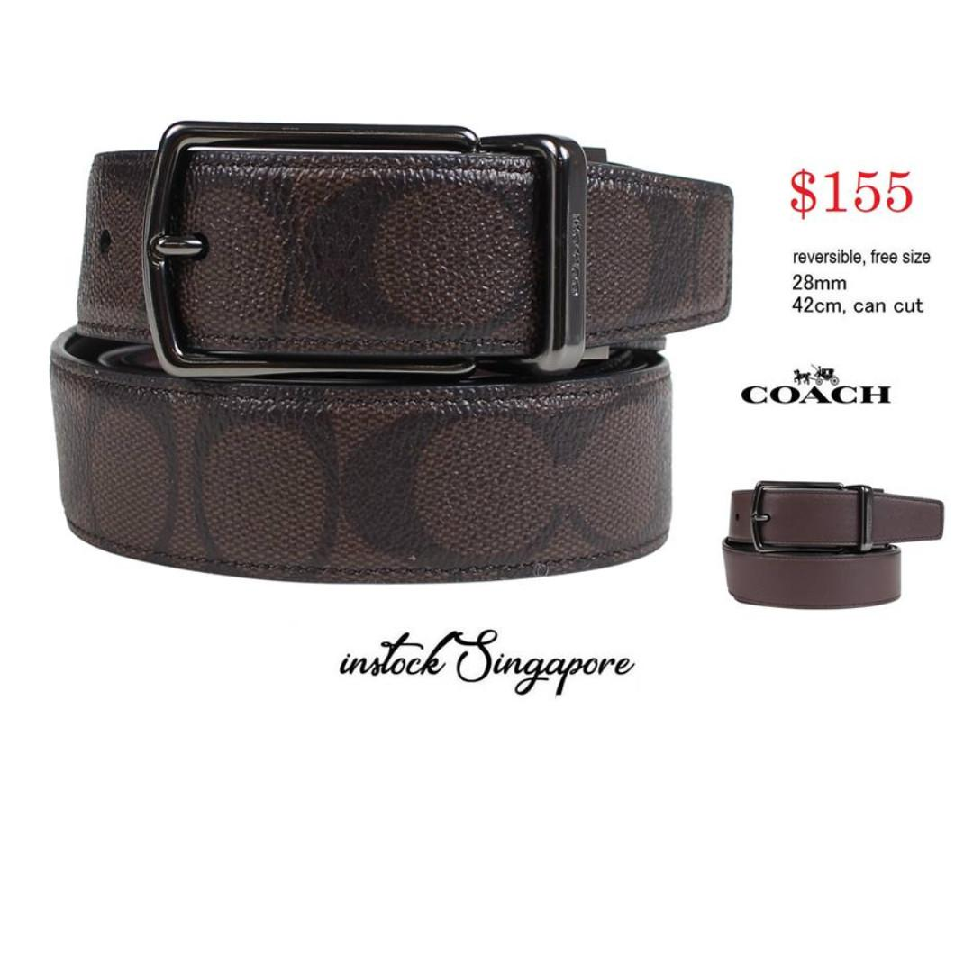 READY STOCK- AUTHENTIC-NEW  COACH MODERN HARNESS CUT-TO-SIZE REVERSIBLE SIGNATURE LEATHER BELT (COACH f64825)