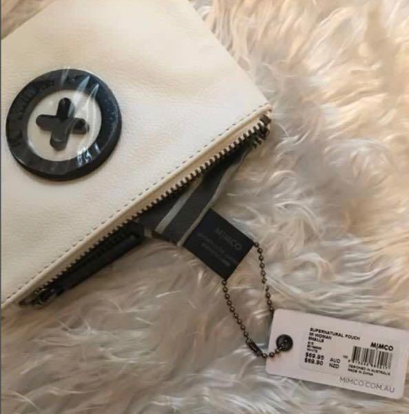 SALE: Mimco Supernatural Pouch in White Leather & Black Logo