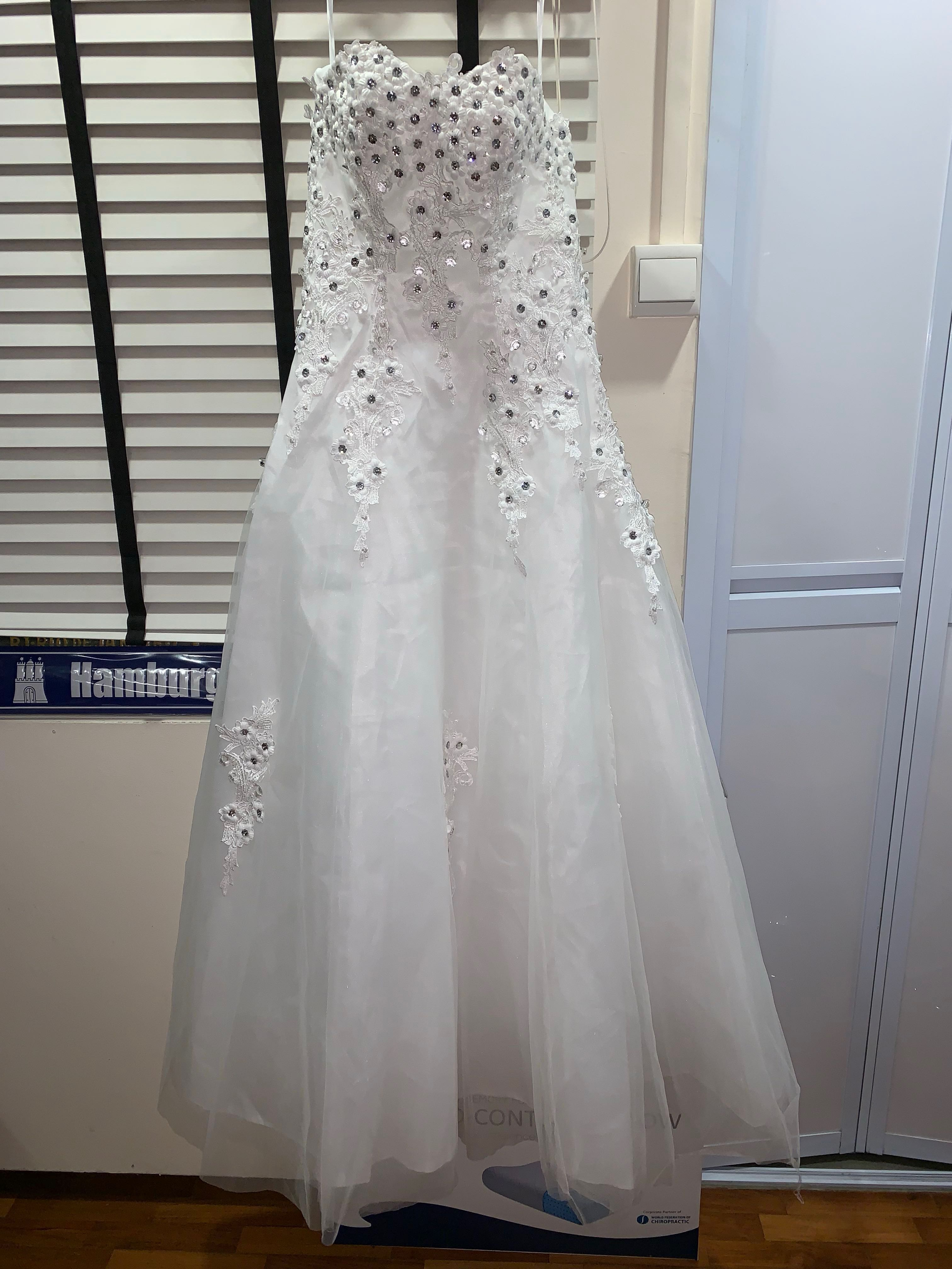 wedding gown (white gown)