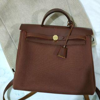 Authentic Hermes Vintage Herbag Burgundy Two way Backpack