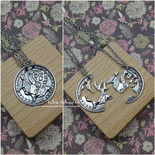 My 'deer' couple necklace.  Puzzle款頸鏈一對