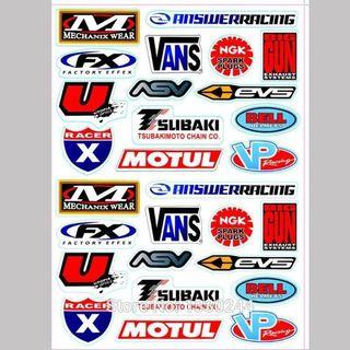 Motocross Racing Helmet Motorcycle Decal Funny Truck Graphic Bike Vinyl Sticker For Honda Yamaha Kawasaki A4 Size Whole Set