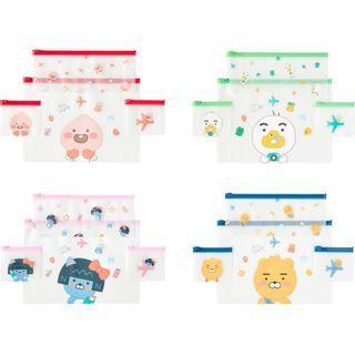 (韓國代購: 9/5截單;16/5後交收) 韓國Kakao Friends Clear Pouch 4個裝