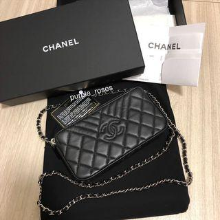 Chanel Clutch with Chain (Black Grained Calfskin with Silver Chain)