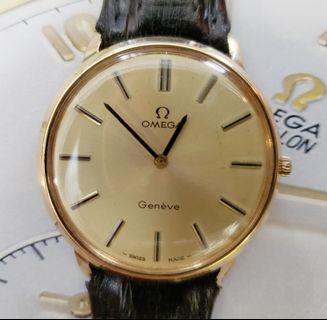 真品極新淨中古包重K黃金Omega-Geneve手上鍊文青款腕錶((不議價))