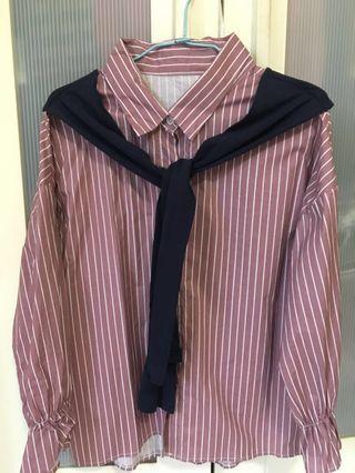🚚 學院風直條襯衫-藕粉色