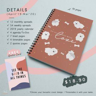 """""""Do all things with love"""" White Poodle (Ring-Bound Monthly Planner)"""