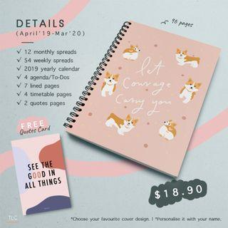 """""""Let Courage Carry You"""" Corgi (Ring-Bounded Monthly Planner)"""
