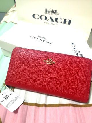 Coach 52372 Crossgrain Leather Accordion Zip Around Wrist Purse Classic Red