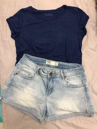 (Set) Cotton On denim shorts & Stardivarius Tshirt