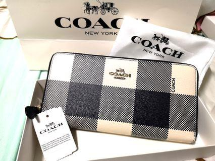 NWT Coach F25966 Lush Pearl / Multi Color Buffalo plaid Accordion Zip Around Wallet