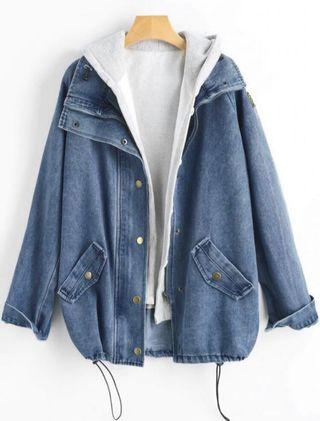 2 Piece Button Denim Jacket Hooded Vest
