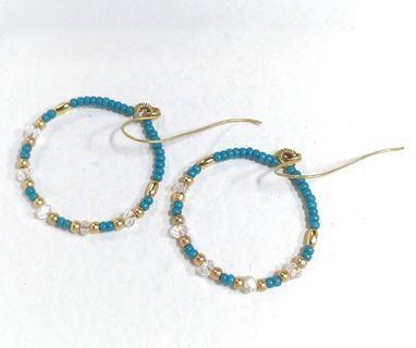黃銅耳飾--海藍