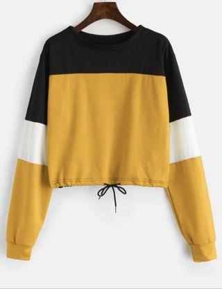 Drawstring Color Block Pullover Sweatshirt