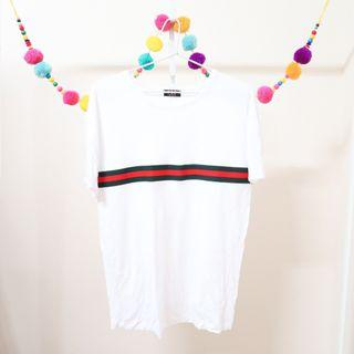 White Front Red & Green Line T-Shirt