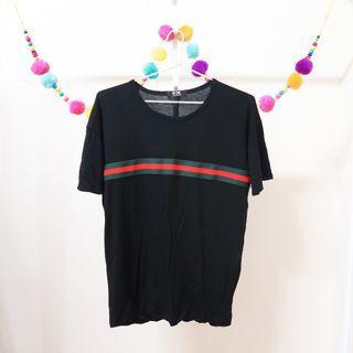 Black Front Red & Green Stripe Line T-Shirt