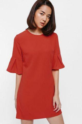 Love Bonito Abelia Pleated Bell Sleeve Dress