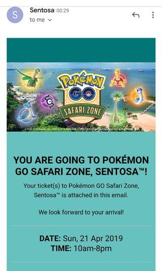 Pokemon Go Sentosa Safari Zone 22nd April 1 ticket QR code