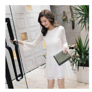 TOKYO White Lace Long Sleeve Dress