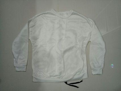 White Polyester long sleeve with Criss Cross back