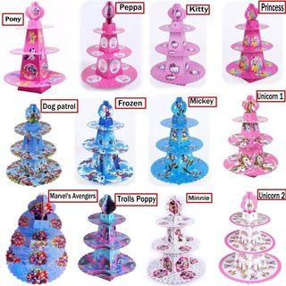 (Free Normal Mail)3-Tier Cupcake Stand Disney Cartoon Characters