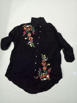 Black casual button down shirt with Embroidery Flowers