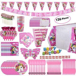 126pcs Pink Unicorn Themed Party Supplies Decorations for Birthday