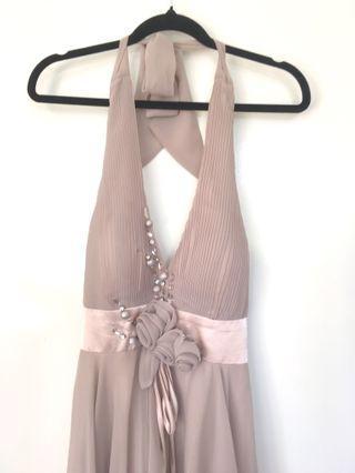 Golden taupe halter formal dress
