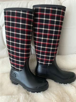 Moncler black and red plaid rain boots size 36 37