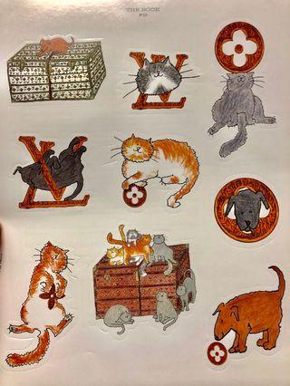 Authentic Louis Vuitton Animal Stickers - sheet of 9