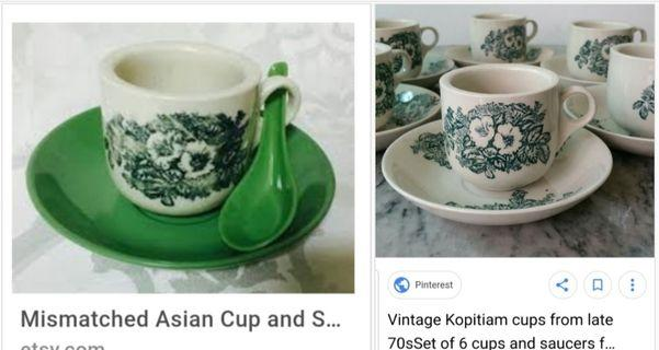 😋 Next pic please! Rare! Complete set of 70's vintage matching kopitiam cup and saucer and spoon.