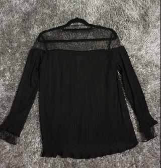Black Chiffon Mesh Top