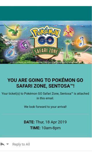🚚 Pokemon GO Safari zone ticket at Sentosa