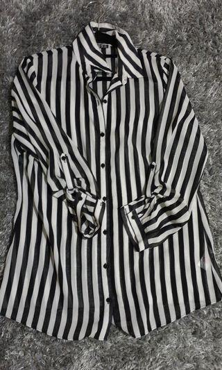 Black and White Striped Chiffon Blouse