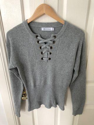 Tie Front Grey Knit