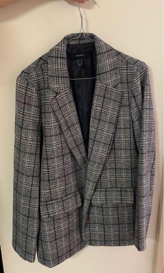 Plaid print blazer