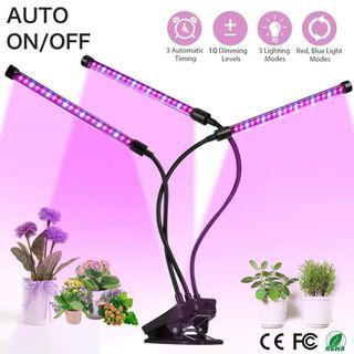 Red Blue LED Plant Grow Light Red with Auto Turn On Off Memory Timer Function, Flexible 3-Head Adjustable Gooseneck USB 3A Powered, 5 Dimmable Brightness Control Levels for Indoor Plants at Home or Office Desktop