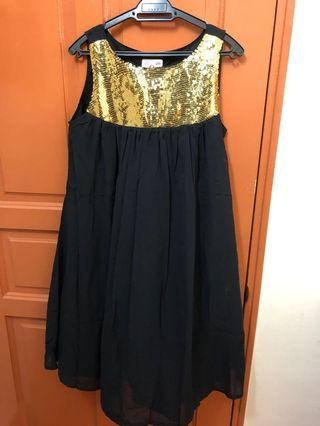 Gold & Black dress.